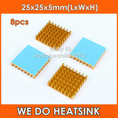 8pcs 25x25x5mm Gold Aluminum Heatsink With Thermal Adhesive Heat Transfer Tape