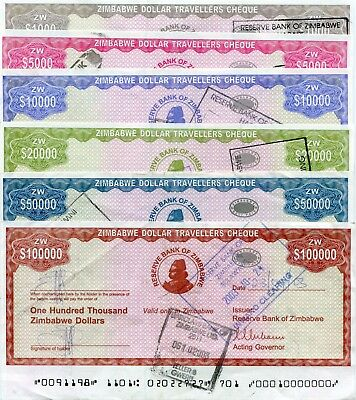 Zimbabwe 2003 Complete 6 Travellers Cheque Set Rare - Free Shipping !