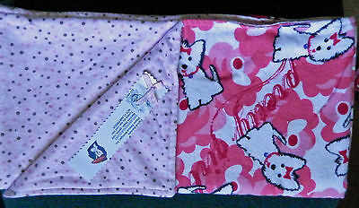 WESTIE PINK FLANNEL BLANKET w/DOTS-RESCUE FREE SHIP USA
