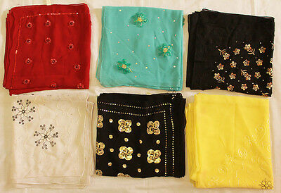 Wholesale Lot of 12  Beaded Embroided High quality Hijabs Different color  Eid