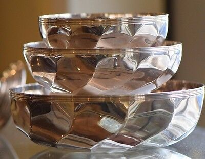 Set of Three Deco Cristofle France Silver Plated Torsade Swirl Bowls Signed