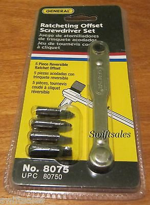 GENERAL Tools 8075 - 5 Piece Ratcheting Offset Screwdriver Set - New Sealed