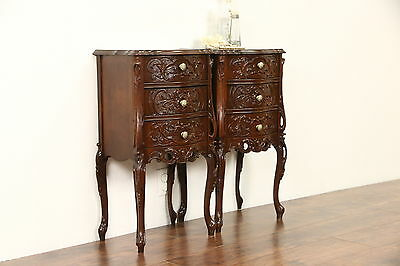 Pair French Style Nightstands or End Tables 1930's, Carved Walnut, Oak Drawers