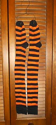Grungy Primitive Socks Stockings - Orange & Black Stripe, Halloween, Witch, Fall