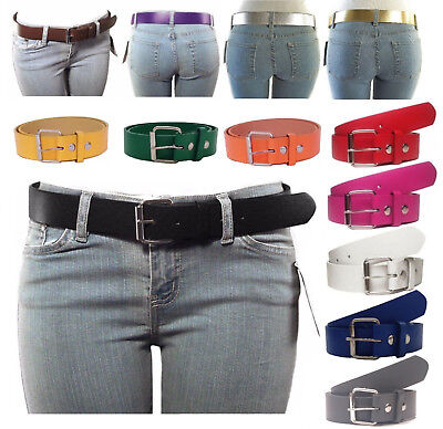 NEW Women's Thick Wide Bonded Leather Belt w/ Removable Silver Buckle 12 Colors!