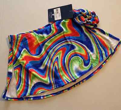 Adult Large Mondor Velvet rainbow swirls 6301 straight ice skating skirt
