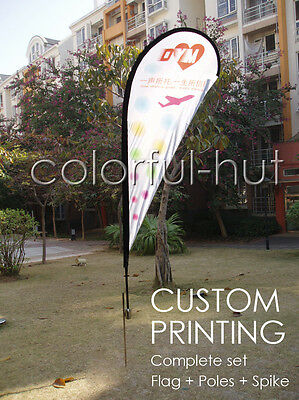 CUSTOM Feather Teardrop Swoop Shop Car Flag Banner +Color Print+Pole Spike
