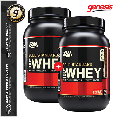 2 X Optimum Nutrition 2LB GOLD STANDARD 100% Whey Protein Isolate WPI WPC