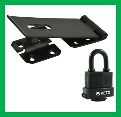115mm Hasp & Staple With Waterproof Padlock Shed Door Gate Key Lock Latch Hutch