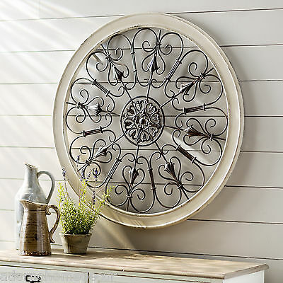 Rustic Wrought Iron Wall Decor.White Round Wrought Iron Wall Decor Rustic Scroll Antique