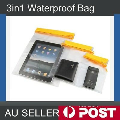 3pcs Waterproof Bag PVC Pouch Dry Bag Case For Camera Mobile Cell Phone Outdoor