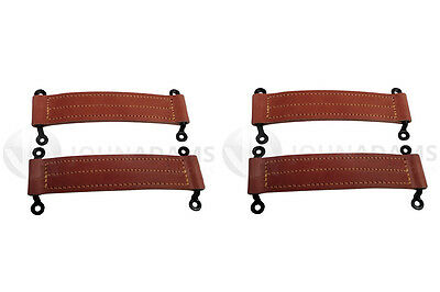 4 x Leather Check Straps Door Horsebox Staples Truck Bus Car Coach Body Vintage