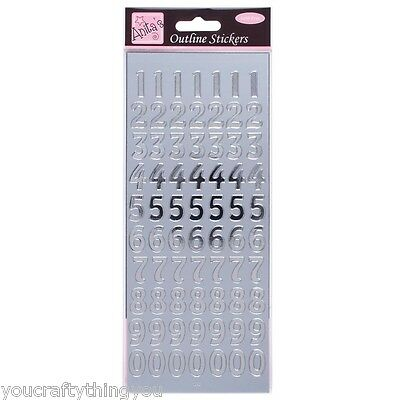 Anita's Peel Offs Outline Silver Large Numbers Stickers | ANT 8101009 Card | A5