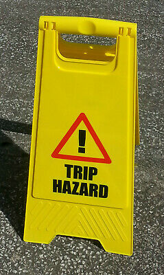 Warning Sign - ''TRIP HAZARD'' - Written on Both Sides - PACK of 5