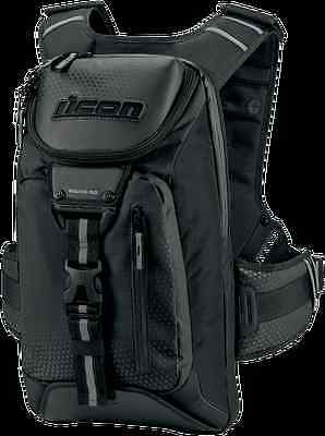 Icon Squad 3 Motorcycle Motorbike Strong Backpack Rucksack - Black