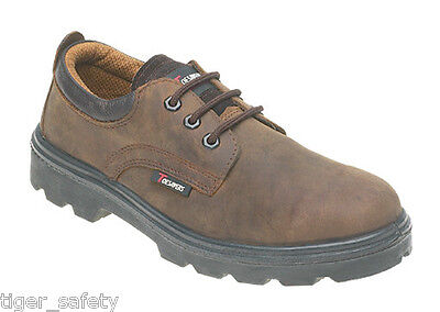 Toesavers 1411 S3 SRC Waxy Brown Leather 3 Eyelet Steel Toe Cap Safety Shoes PPE