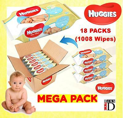 Huggies Pure Wipes 18 Packs 1008 Wipes Natural Gentle Cleansing Baby Wet Wipes