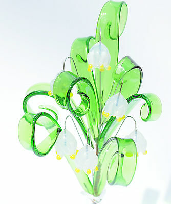 White Glass Posy lily of the valley Flowers Handmade HOME Ornament from Czech