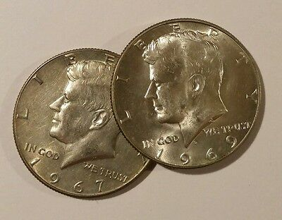 2 -- 40% SILVER Kennedy Half Dollar 1965-69 random  Circulated FREE SHIPPING