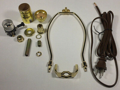 "Table Lamp Wiring Kit With 10"" Brass Plated Harp, 3 Way Socket,8 ft. Brown Cord"
