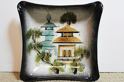 Sascha Brastoff Candy Cigarette dish Houses Spires Rooster 03 pottery dish