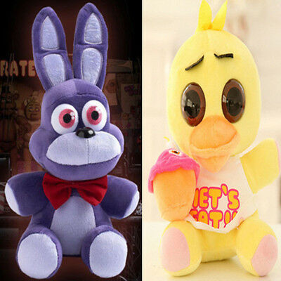 """New 2pcs FNAF Five Nights at Freddy's Chica & Bonnie Plush Toys doll gift 10"""""""