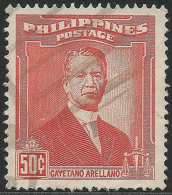 1952 Philippines, Portraits - Cayetano Arellano. 50c. Used, Lot 1