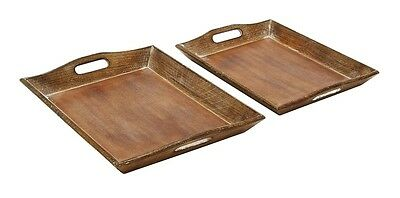 Benzara Set of 2 Wood Tray w/Rich Brown Finish- 14422 Home Decor NEW