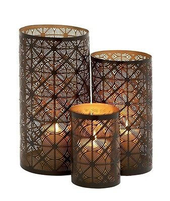 Benzara Beautifully Shaped Metal Candle Holder Set Of 3- 22181 Candle Holders