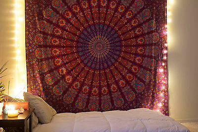 Indian Mandala Wall Hanging Ethnic Throw Twin Bedspread Hippie Blanket Tapestry