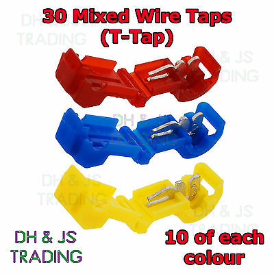 30 Mixed Wire Tap Connectors - T Tap Connector Wire Splice Terminal Terminals