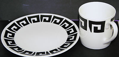 TWO SUSIE COOPER 1960s Black Keystone, Wedgwood, Coffee Cans and Side Plates