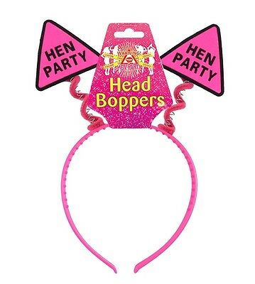 Hen Night Hen Party Head Boppers in Hot Pink & Black on Pink Head Band