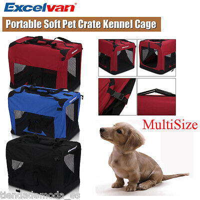 Portable Soft Fabric Pet Crate Kennel Cage Carrier House Dog Cat Folding Bag UK