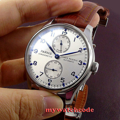 43mm PARNIS silver dial power reserve ST2542 automatic movement men's watch P99B