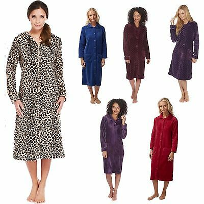 Ladies Zip/Button Front Soft Fleece Hooded Long Dressing Gown Housecoat 8 - 26