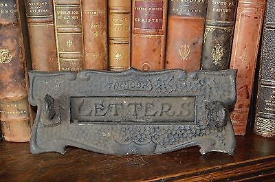 Antique English Cast Iron Letter Box Mail Slot Gothic Letters