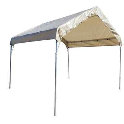 10 X 10 Heavy Duty Valance Canopy Tarp Carport Cover Kit and Frame ...