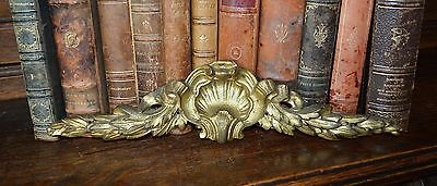 Antique French Bronze Ormolu Pediment Shell and Leaf