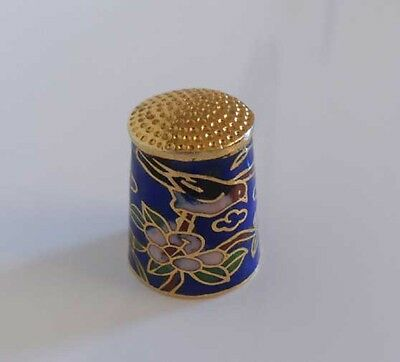 Vintage Cloisonne Enamelled Thimble - (Birds/wildlife Theme)
