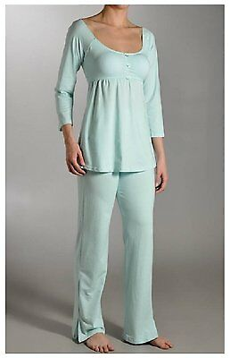La Leche League Sandi Maternity Nursing PJ Set 4365 Aqua Medium