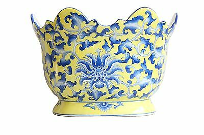 """Yellow and Blue Chinese Porcelain Floral Pattern Scallop Rim Flower Pot 7"""""""