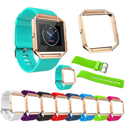 Soft Silicone Watch band Replace Sport Strap+ Rose Gold Frame For Fitbit Blaze