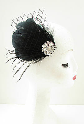 Black Silver Feather Fascinator Races Hair Clip Diamante Rhinestone Vintage B03