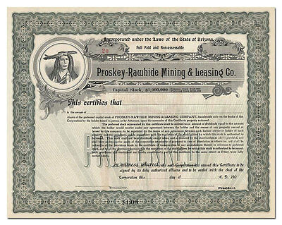 Proskey-Rawhide Mining & Leasing Company Stock Certificate (Arizona)