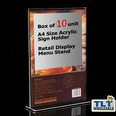 10x A4 Size Double Sided Sign Holder Acrylic Retail Display Stands Menu Acrylic