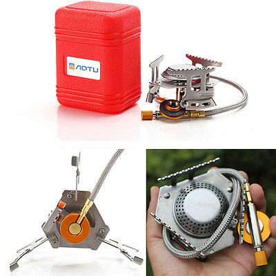 New Portable Outdoor Picnic Gas Burner Foldable Camping Mini Steel Stove Case