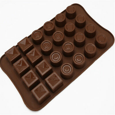 24 Cups Round And Square Shape Silicone Handmade Chocolate Mold Baking Tool