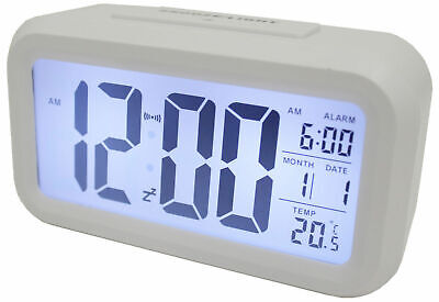 LIGHT SENSOR ALARM CLOCK w/ BACKLIT DISPLAY PORTABLE BATTERY OPERATED WHITE