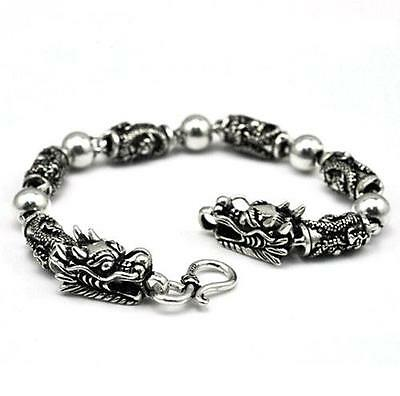 Free Ship! Solid Silver925 Bracelet Biker Punk Style Dragon Shape For Unisex
